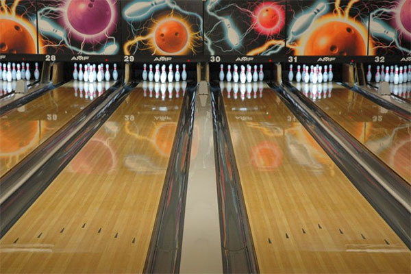 Bowling lanes with pins on lanes 27 to 32