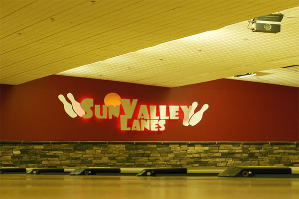 Sun Valley Lanes L.E.D. sign on the wall